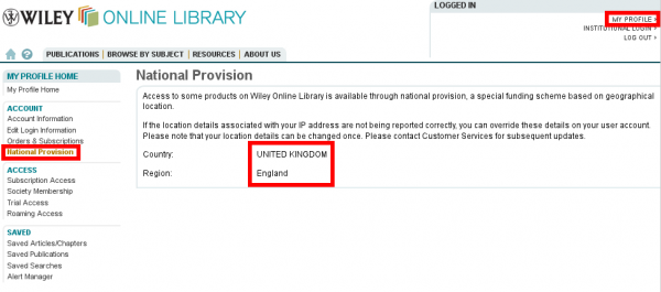 Wiley Online Library: National Provision